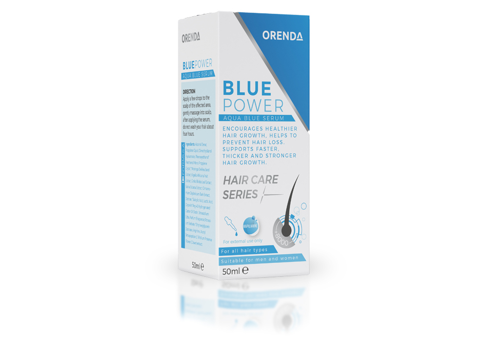 blue power hair care serum
